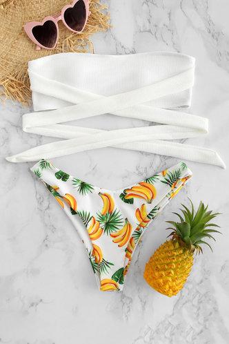 front_Annie Eartha White And Pineapple Print Bikini