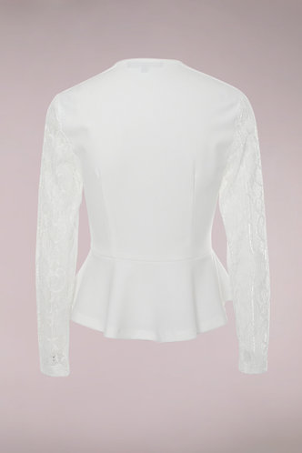 back_Sweet And Sour White Peplum Top