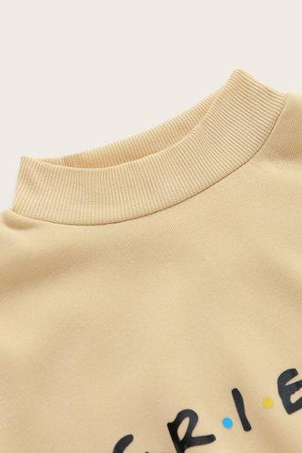 back_Casual Crew Neck Letter Print Yellow Sweatshirts & Hoodies