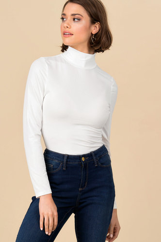 front_Finely Fitted White Turtleneck Top
