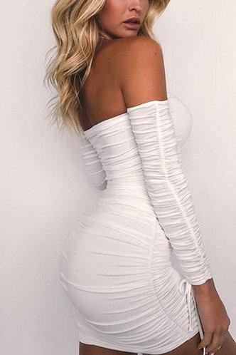 back_Mae Edwina White Ruched Dress