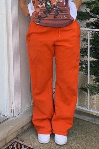 back_High Waist Plain Drawstring Orange Sweatpants