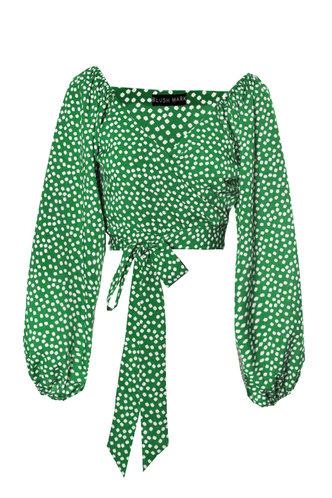 back_V Neck Polka Dot Bowknot Long Sleeve Lantern Sleeve Green Floral Print Blouses