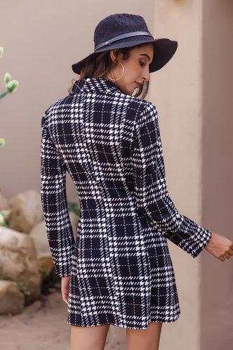 back_Ariane Black And White Plaid Blazer Dress