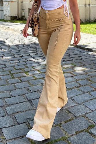 front_Racham Khaki Flare Jeans