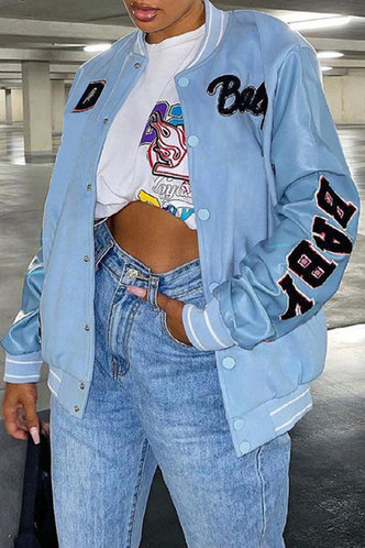 back_Mock Letter  conventional Button Baby Blue Outerwear