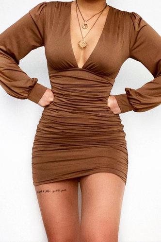 front_Stacked Mini Deep V Neck Regular Sleeve Brown Plain Dresses