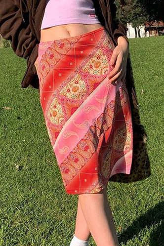 front_Frances Eartha Red Tribal Print Skirt