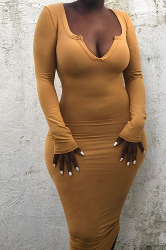 front_Piper Evangeline Light Brown Plunging Neck Bodycon Dress