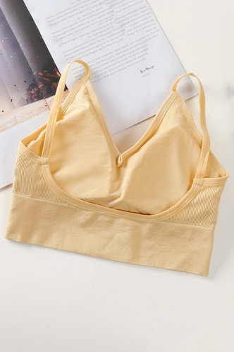 back_Solid Color Crop Yellow Bras & Bralettes