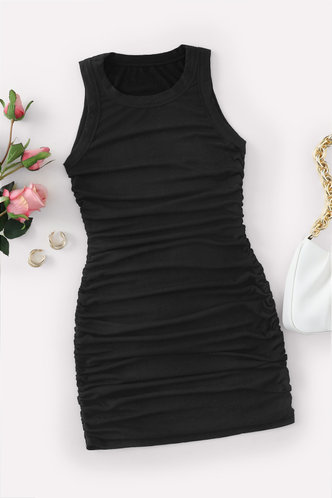 back_Carmelita Black Ruched Dress