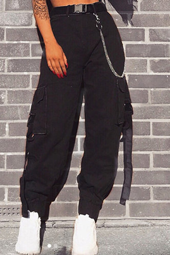 front_Bae Black Cargo Pants