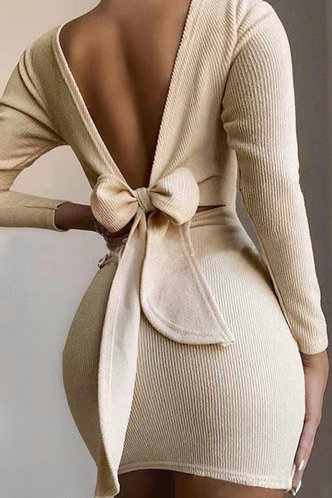 front_Plain  Light Khaki Above Knee Dresses