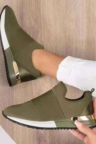 front_Erin Garan Army Green Sneakers