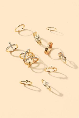 back_Annabel Elma Gold Rhinestone Detail Ring 11pcs