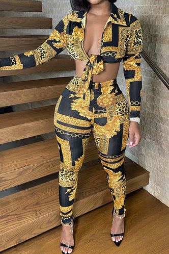 front_All Over Print Knot Elastic Band Multicolor Pants Set