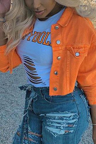 back_Lili Eve Orange Button Up Jacket