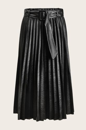 front_Zeva Black Pleated Leather Skirt