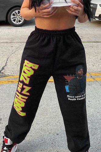 back_Mid Waist  Black Plus Size Sweatpants