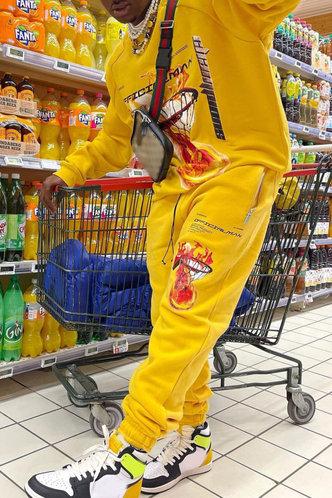 front_Street Graphic Print Yellow Men Pants Sets
