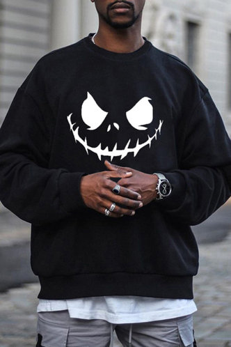 front_Long Sleeve Black Men Sweatshirts & Hoodies