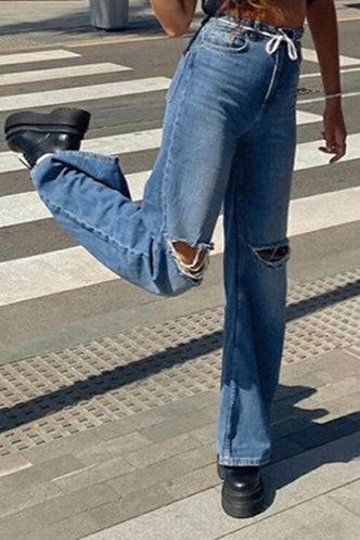 back_Kelley Blue Ropped Knee Jeans