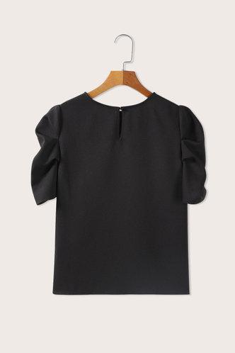 back_Round Neck Short Sleeve Regular Sleeve Black Blouses