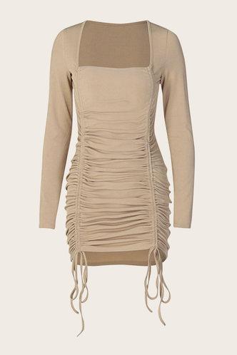 back_Sabrina Khaki Ruched Dress