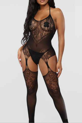 front_Hollow Out Lace Black Sexy Lingerie