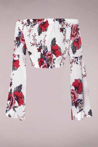 front_Life Is Rosy White Multicolor Floral Crop Top