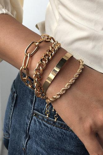 back_Magda Elsie Gold Chain Bracelet 4pcs