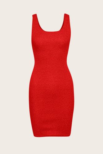 back_Shopping Vacation Bar/Nightclub Sleeveless Square Neck Red Dresses