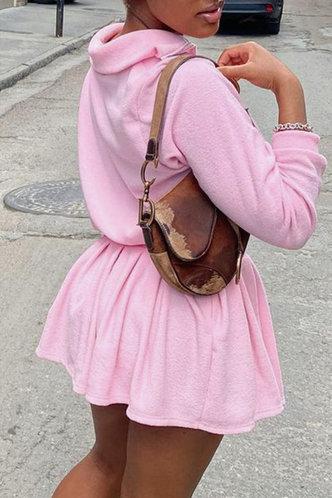 front_Plain Zipper  and Pink Skirt Sets
