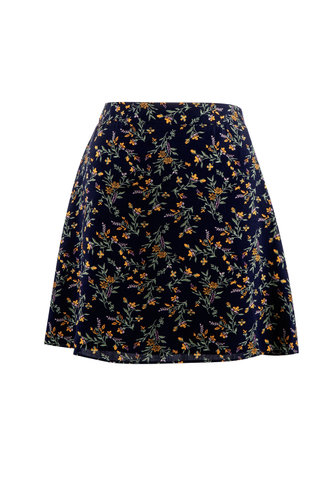 front_Floral & Flirty Dark Navy Floral Print Skirt