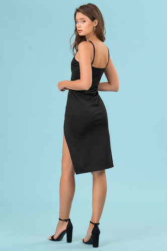 back_Party Girl Black Midi Dress