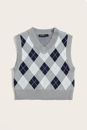 back_Eleanore Edwina Grey And Blue Plaid Vset Sweater