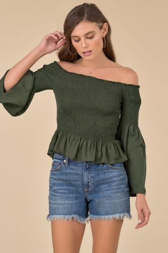 back_Priscilla Army Green Top