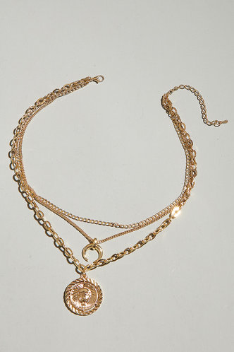 back_Jessie Elsa Gold Coin Pendant Layered Necklace