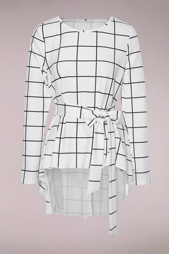 front_Crossroads White Plaid Top