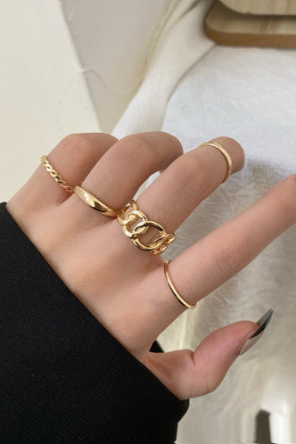 front_Modesty Eileen Gold Chain Decor Ring 5pcs