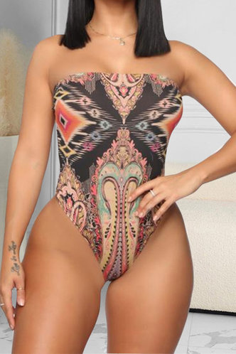 front_Off the Shoulder All Over Print Tribal Print One-Piece Swimsuits