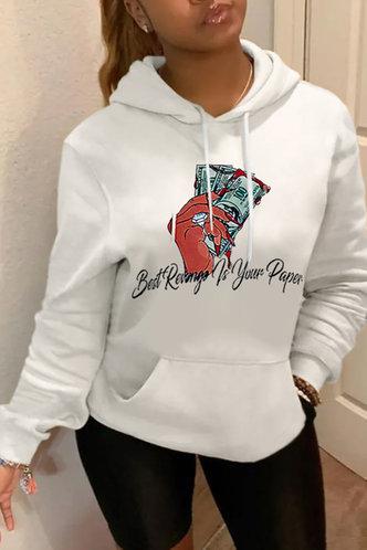 front_Hooded Collar Graphic Print Pocket Drawstring White Sweatshirts & Hoodies