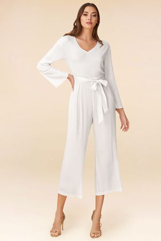 front_Love and Affection White Jumpsuit
