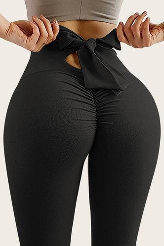 back_High Waist   Pencil Pants Black Leggings