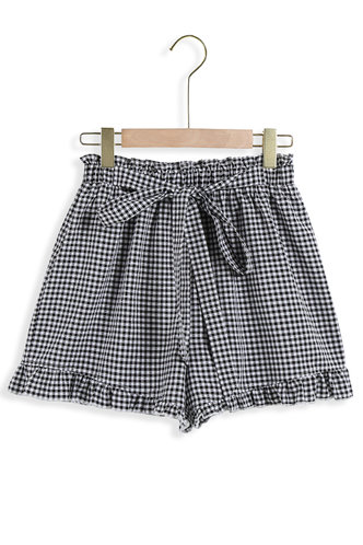back_Morning Has Broken Black And White Plaid Shorts