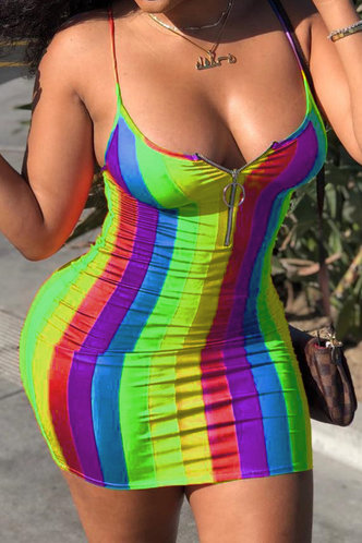 front_Chelsea Erica Rainbow Striped Zig Up Front Dress