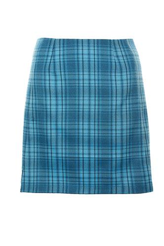 front_Azul Blue Plaid Skirt