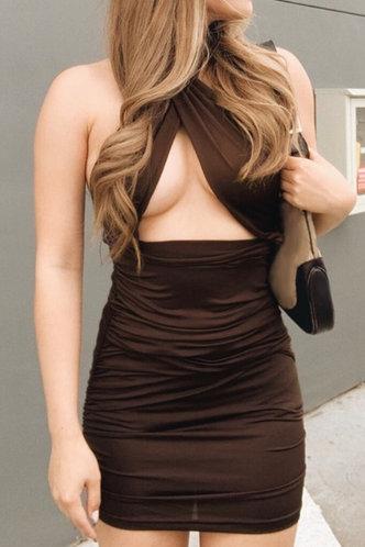 front_Bab Elsie Brown Halter Cutout Ruched Dress