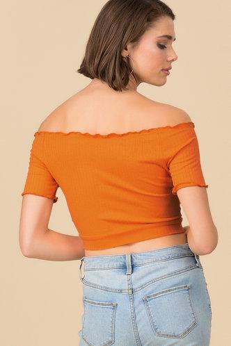 back_Mellow Orange Bardot Top