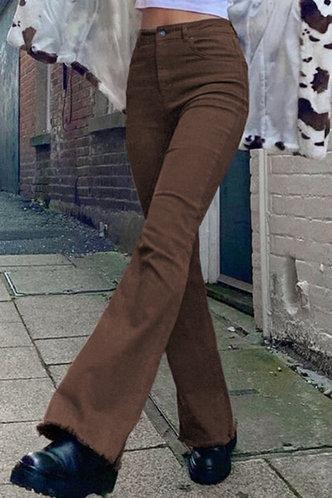 front_High Waist Flare Leg Brown Pants